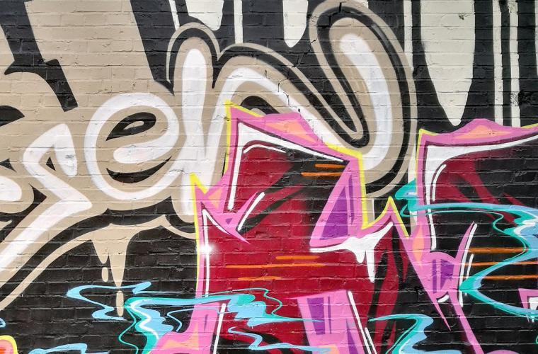 Bild på graffitivägg